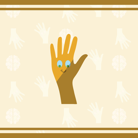 developmental: Vector of greeting card with autism hand symbol