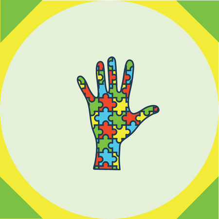 developmental disorder: Vector of greeting card with puzzle hand symbol Illustration