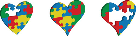 developmental disorder: Vector icon of jigsaw puzzle in heart shape against white background Illustration