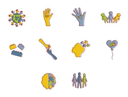 developmental: Vector icon set for awareness against white background
