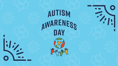 Vector of greeting card with autism awareness day message Illustration