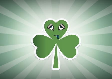 st  patrick's day: Digital composite of Patricks Day shamrock against green rays Stock Photo
