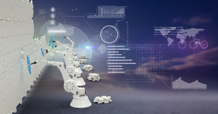 Digital composite of 3d robotic arms building a wall of jigsaw overlaid with futuristic interface