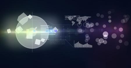 digital composite: Digital composite of futuristic interface against blue background Stock Photo