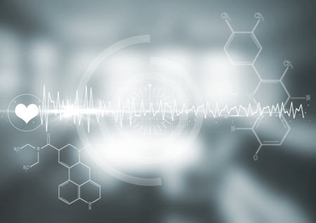 Digital composite of White medical interface and flare against blurry grey room