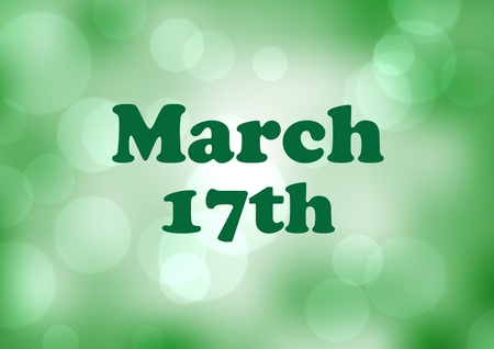 patrick's: Digital composite of Patricks Day graphic against green bokeh