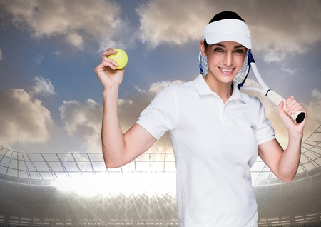 Digital composite of Tennis player against stadium with bright lights and sky with clouds