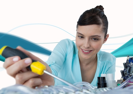 Digital composite of Woman with electronics and screwdriver against white background with blue waves