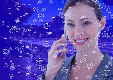 phoning: Digital composite of Woman on phone against Night city with connectors Stock Photo