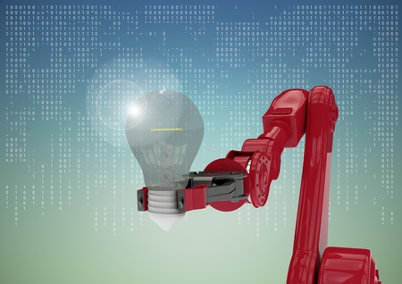 Digital composite of Red robot claw with light bulb and flare against white interface against blue green background