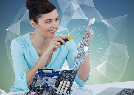 computer repairing: Digital composite of Woman with electronics against blue green background with vector mesh