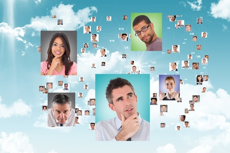 Digital composite of Flying portraits of business people Stock Photo