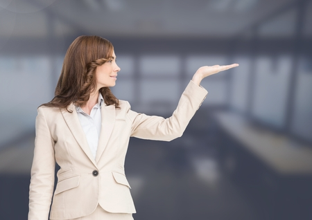Digital composite of Woman with open palm hand Stock Photo