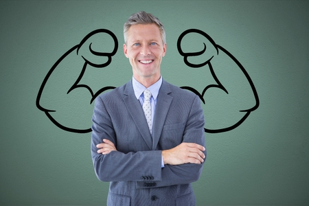 Digital composite of confident business man  against grey background with drawing of  flexing muscles