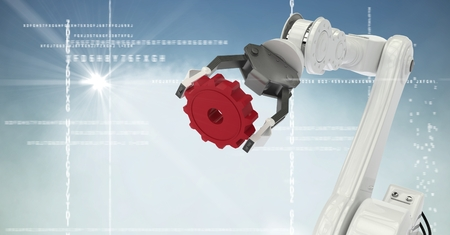 Digital composite of White robot claw red cog against white interface, cloud, flare and blue background