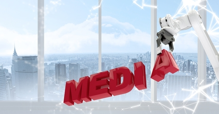 Digital composite of White robot claw holding red letters against white interface and window with skyline