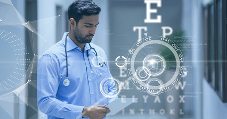 scrolling: Digital composite of Doctor looking at his tablet surounded with futuristic interface