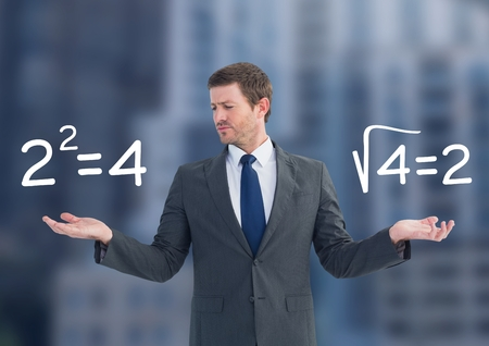 Digital composite of Man choosing or deciding math sums equations with open palm hands