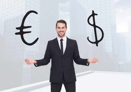 Digital composite of Man choosing or deciding euro or dollar currency with open palm hands Reklamní fotografie