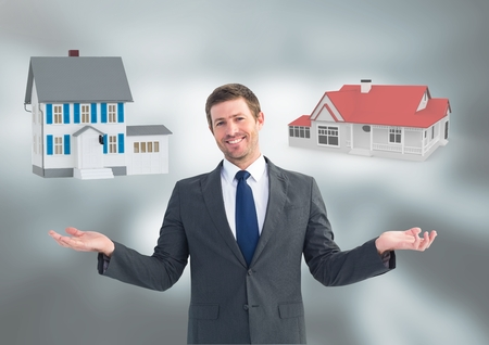 Digital composite of Man choosing or deciding houses with open palm hands