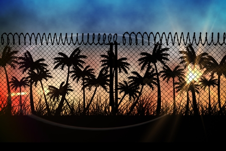 Digital composite of sunset view with palm trees and fence in front