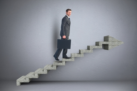 staircases: Digital composite of Business man walking on 3d stairs with arrow Stock Photo