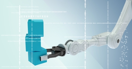cropped: Digital composite of White robot claw holding blue boxes behind white interface against blue background Stock Photo