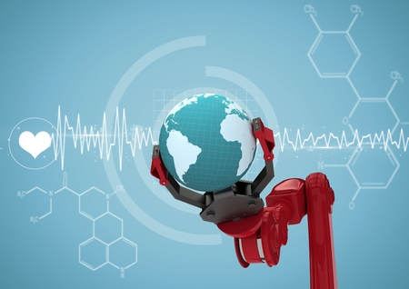 Digital composite of Red robot claw with globe against white medical interface and blue background Stock Photo