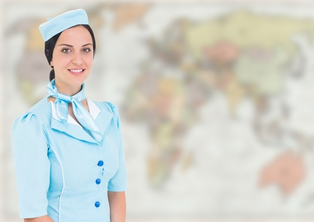 Digital composite of Stewardess against blurry map Stock Photo