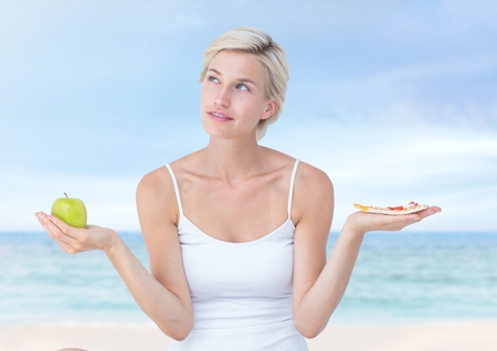 Digital composite of Woman choosing or deciding food with open palm hands