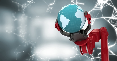 furniture part: Digital composite of Red robot claw with globe and white interface against blurry grey room Stock Photo