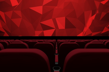 Digital composite of 3d composition of cinema seats facing to screen with abstract shapes