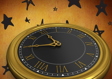 Digital composite of 3D Clock against rustic background with stars