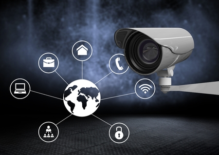 Digital composite of Security camera against dark background with world business icons