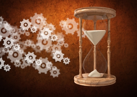 falling out: Digital composite of Egg Timer with sand and cog wheel settings icons against brown background Stock Photo