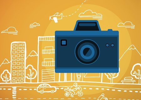 Digital composite of camera illustration icon against orange background with graphic drawing of street Stock Photo