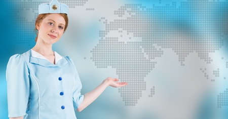 Digital composite of Stewardess with hand out against blue map