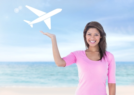 Digital composite of Woman with open palm hand under plane holiday icon on beach
