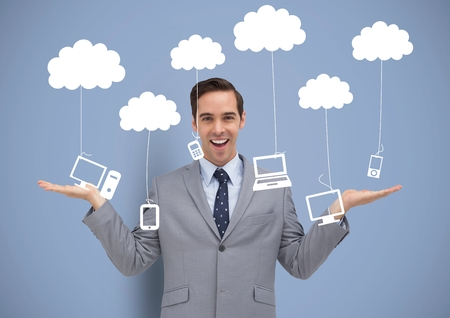 Digital composite of Man deciding or choosing computers phones and tablet devices hanging from clouds with open palms han