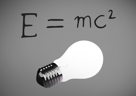 Digital composite of E = MC2  text writing with bulb against grey background