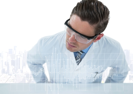 Digital composite of Man in lab coat leaning over table looking at white graph against white skyline