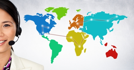 Digital composite of Close up of travel agent with headset against map with lights and white wall Stock Photo