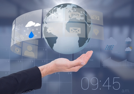 extending: Digital composite of Open palm business hand holding world earth globe with weather calendar interface