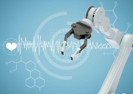 Digital composite of White robot claw against white medical interface and blue background