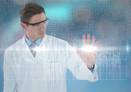 Digital composite of Man in lab coat and goggles with white graph and flare against blue background with bokeh Stock Photo