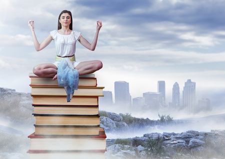 Digital composite of Woman meditating sitting meditating on Books stacked by distant city