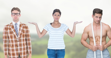 Digital composite of Woman choosing or deciding with open palm hands Stock Photo