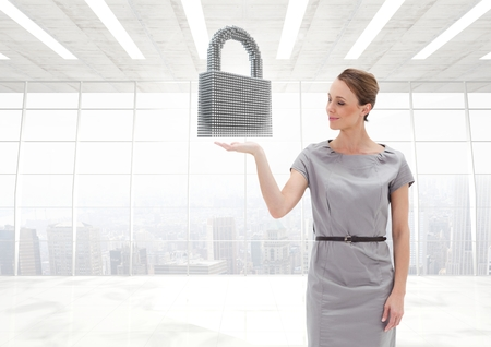Digital composite of Woman with open palm hand under security lock in office