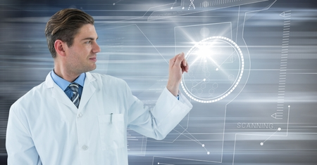 looking at computer screen: Digital composite of Man in lab coat with glass device against flare and motion blur