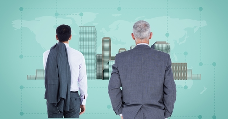 multiracial: Digital composite of Businessmen looking at City with world map Stock Photo